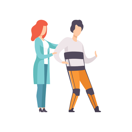 Therapist working with disabled man using orthopedic rehabilitation suit, medical rehabilitation, physical therapy activity vector Illustration isolated on a white background.