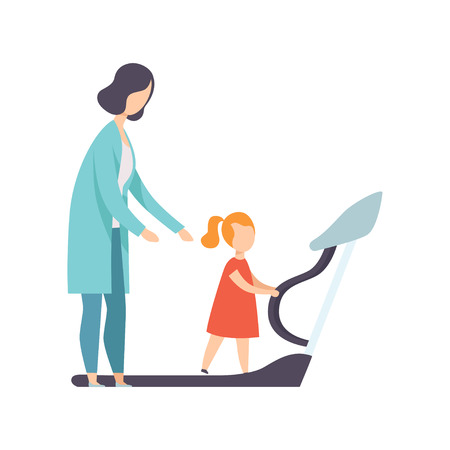 Therapist working with little girl training on treadmill, recovery after trauma, medical rehabilitation, physical therapy activity vector Illustration