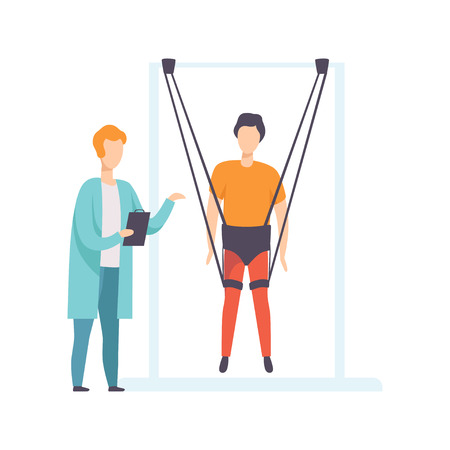 Therapist working with disabled patient using special ropes for intense body training, healthy lifestyle and rehabilitation cartoon vector illustration