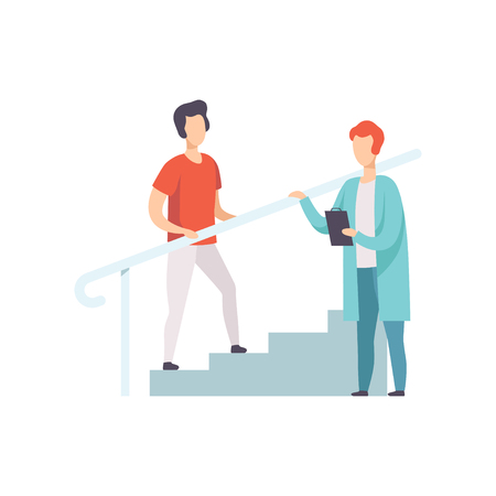 Therapist working with male patient climbing the stairs, medical rehabilitation, physical therapy activity vector Illustration Stock Vector - 105676361