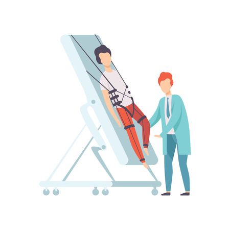 Therapist working with disabled male patient using special equipment, recovery after trauma, medical rehabilitation, physical therapy activity vector Illustration Illustration