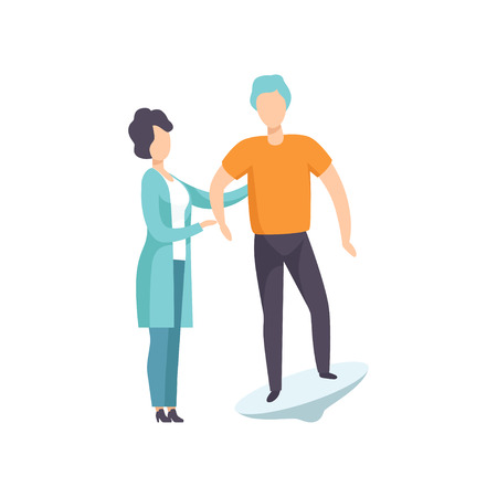 Therapist working with disabled patient using special equipment, recovery after trauma, medical rehabilitation, physical therapy activity vector Illustration Illustration