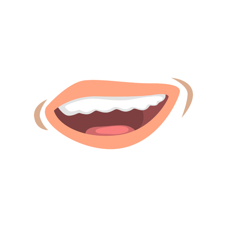 Smiling female lips, emotional mouth of young woman vector Illustration on a white background Archivio Fotografico - 105676358
