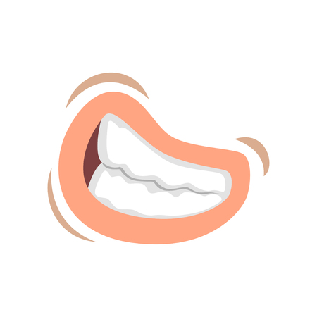 Female mouth with bared teeth, emotional lips of young woman vector Illustration on a white background Illustration