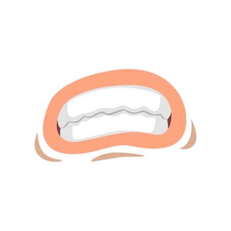 Female mouth with clenched teeth, emotional lips of young woman vector Illustration on a white background