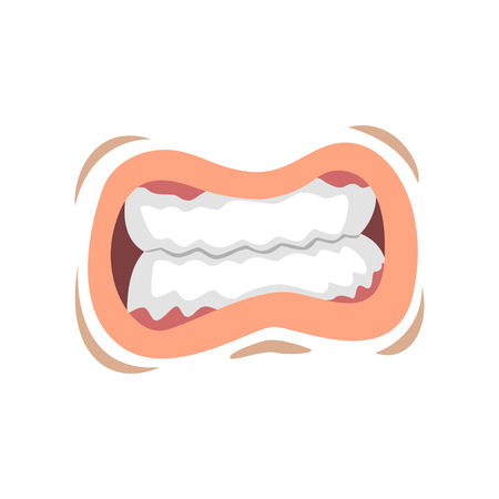 Mouth with clenched teeth, emotional lips of young woman vector Illustration on a white background