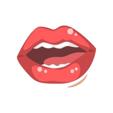Sinnlicher offener weiblicher Mund, emotionale Lippen der Vektorillustration der jungen Frau auf einem weißen Hintergrund