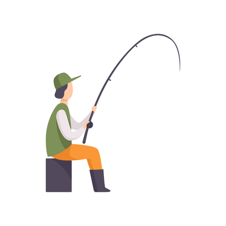 Fisherman sitting on the shore and fishing with a fishing rod vector Illustration isolated on a white background.