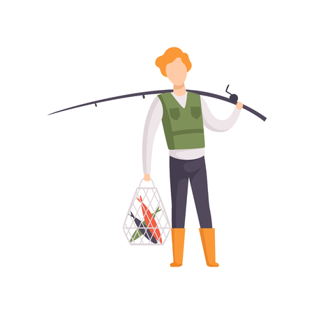 Fisherman standing with caught fish and fishing rod vector Illustration isolated on a white background.