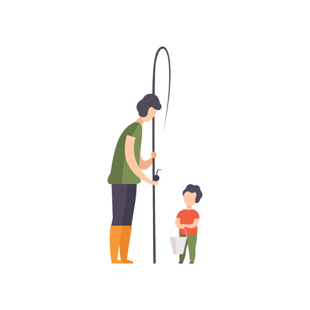 Father and his son going to fishing vector Illustration isolated on a white background.