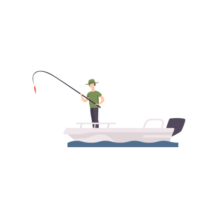 Fisherman standing on boat and fishing with a fishing rod vector Illustration isolated on a white background.