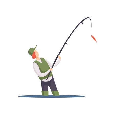 Pêcheur pêchant avec un vecteur de canne à pêche Illustration isolé sur fond blanc.