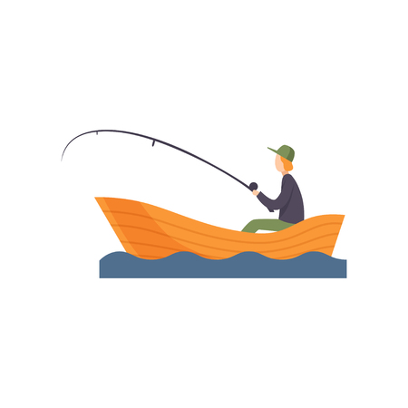 Fisherman sitting on boat with fishing rod in his hand vector Illustration isolated on a white background.