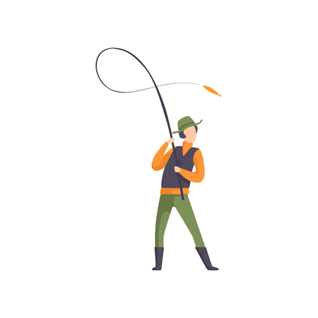 Fisherman throwing spinning into the water vector Illustration isolated on a white background.