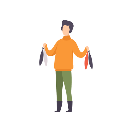 Fisherman standing with fish caught vector Illustration isolated on a white background.