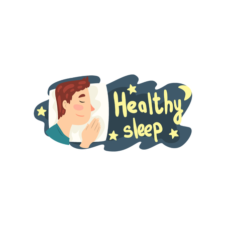 Healthy sleep, man sleeping in his bed at night vector Illustration isolated on a white background.