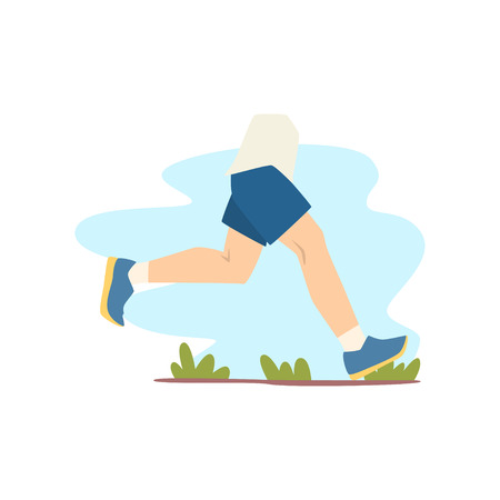 Person jogging outdoor, healthy lifestyle vector Illustration isolated on a white background. 向量圖像