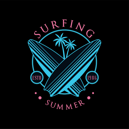 Surfing summer logo estd 1986, design element can be used for surf club, shop, t shirt print, emblem, badge, label, flyer, banner, poster vector Illustration