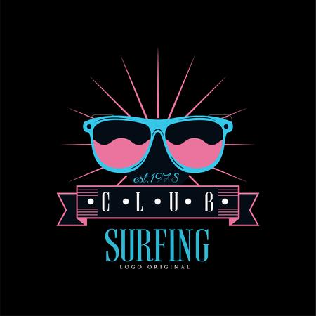 Surfing club logo original est 1978, design element can be used for surf club, shop, t shirt print, emblem, badge, label, flyer, banner, poster vector Illustration on a black background.