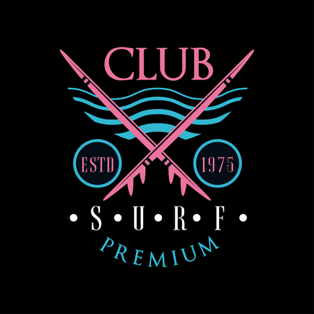 Surf club premium logo estd 1975, design element can be used for surfing club, shop, t shirt print, emblem, badge, label, flyer, banner, poster vector Illustration Иллюстрация
