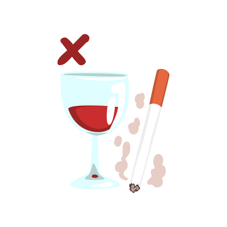 Cigarette and wine glass, no bad habits vector Illustration isolated on a white background.