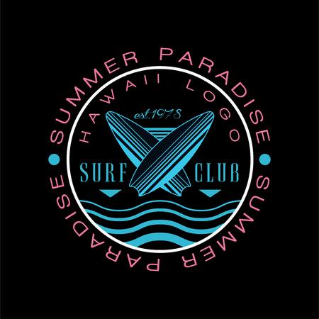 Summer paradise Hawaii logo, surf club est 1978, creative badge can be used for surf club, shop, t shirt print, emblem, badge, label, flyer, banner, poster vector Illustration