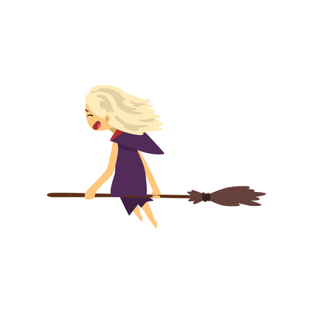 Little witch character flying with broom cartoon vector Illustration isolated on a white background. Ilustração