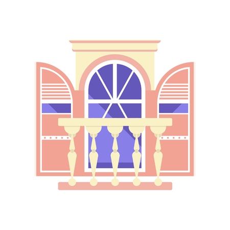 Vintage balcony, architectural design element vector Illustration on a white background