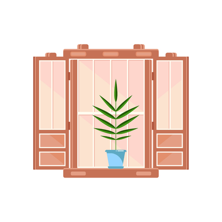 Retro wooden window frame with plant in blue pot, architectural design element vector Illustration on a white background