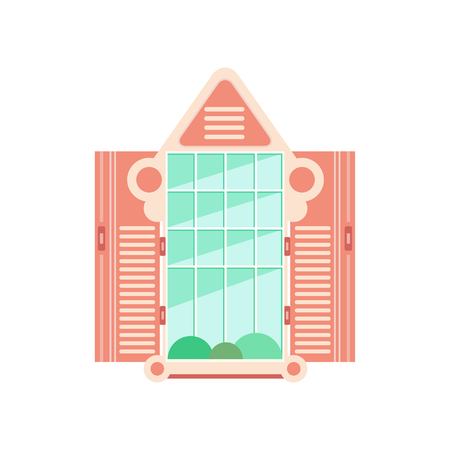 Retro wooden window frame with shutters, architectural design element vector Illustration on a white background Illustration