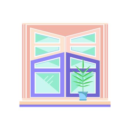 Wooden window frame, architectural design element vector Illustration on a white background