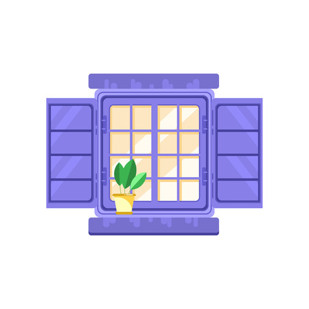 Retro window with blue shutters, architectural design element vector Illustration on a white background