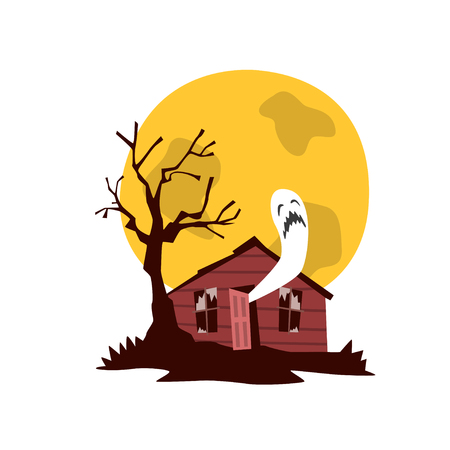 Spooky haunted house, witches hut vector Illustration on a white background