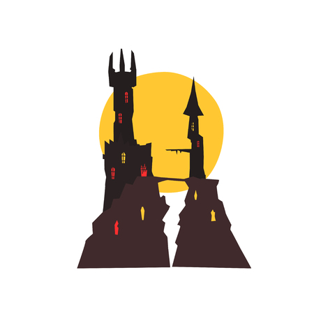 Sinister castle with full moon at night vector Illustration on a white background