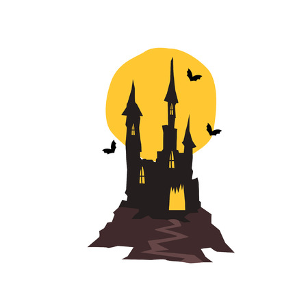 Spooky haunted castle with bats and full moon vector Illustration on a white background Çizim