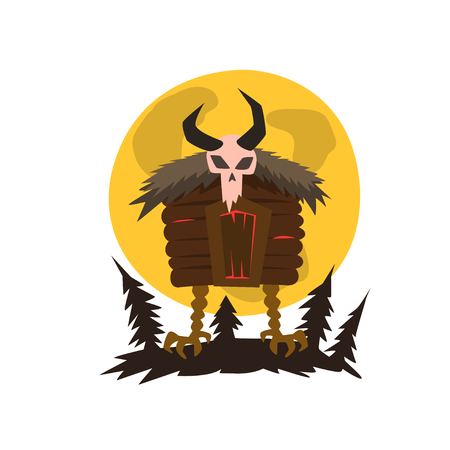 House of forest witch standing on chicken feet vector Illustration on a white background