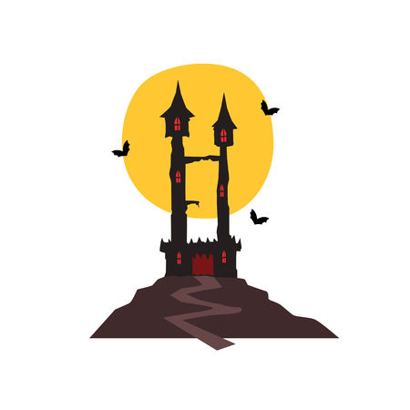 Halloween castle with bats and full moon vector Illustration on a white background