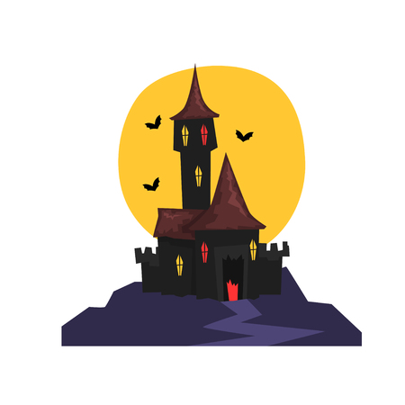 Old Halloween castle with bats and full moon vector Illustration on a white background