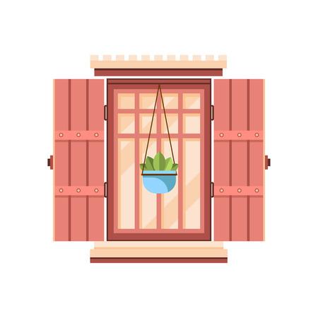 Retro-Fenster mit hölzernen Fensterläden, architektonische Gestaltungselementvektorillustration auf einem weißen Hintergrund