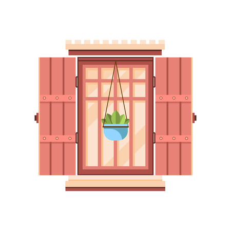 Retro window with wooden shutters, architectural design element vector Illustration on a white background