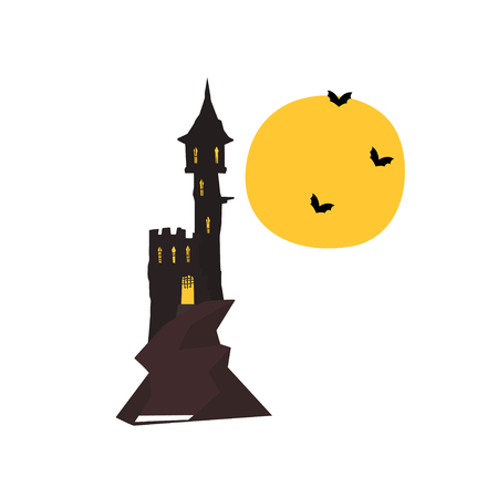 Halloween castle tower with bats and full moon vector Illustration on a white background