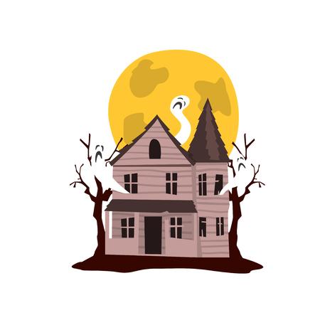 Château hanté effrayant et vecteur de pleine lune Illustration sur fond blanc