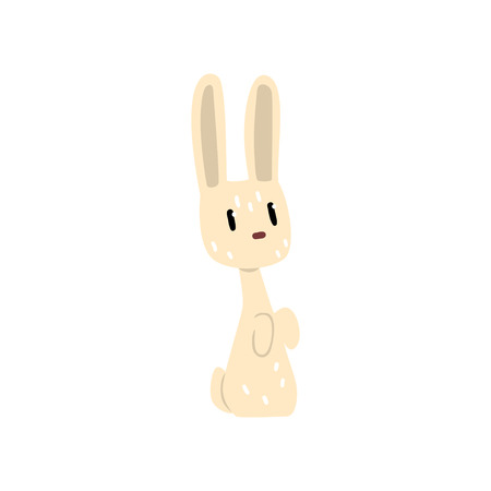 White little rabbit cartoon character vector Illustration isolated on a white background.
