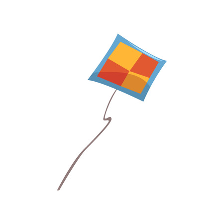 Kite flying in the sky vector Illustration isolated on a white background.