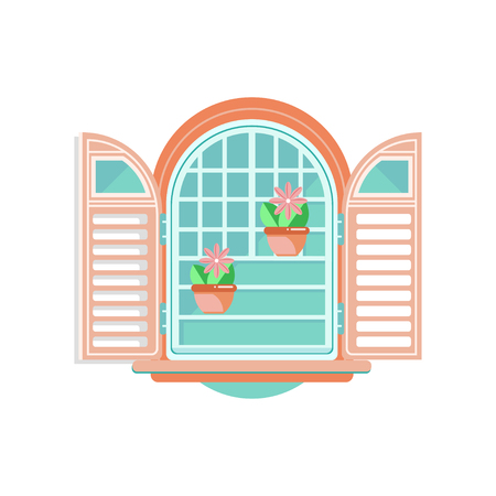 Retro window with shutters and flowerpots, architectural design element vector Illustration on a white background Illustration