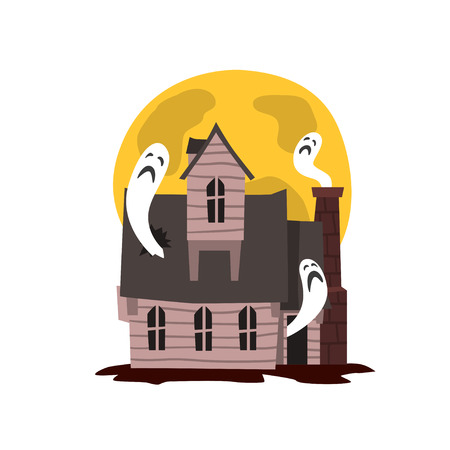 Spooky haunted castle, scary Halloween mansion vector Illustration on a white background Çizim