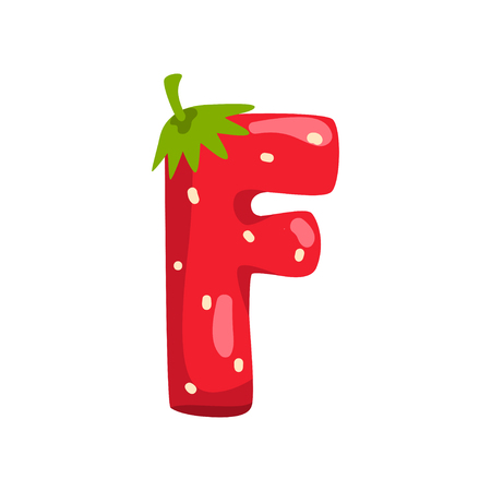 Letter F of English alphabet made from ripe fresh srawberry, bright red berry font vector Illustration isolated on a white background.