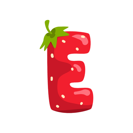 Letter E of English alphabet made from ripe fresh srawberry, bright red berry font vector Illustration isolated on a white background.