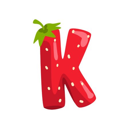 Letter K of English alphabet made from ripe fresh srawberry, bright red berry font vector Illustration isolated on a white background.