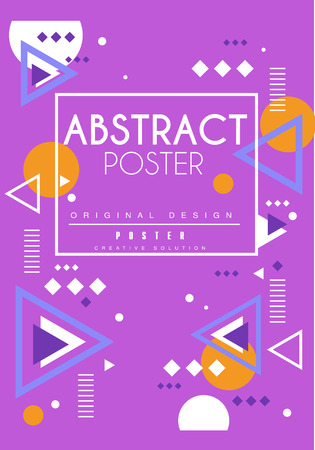 Abstract poster original design, creative solution placard template with geometric shapes, purple background for banner, invitation, flyer, cover, brochure vector Illustration, web design